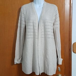 NWT Style and Co beige tunic length open cardigan